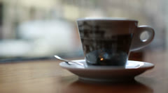 amsterdam coffeeshop cup on right lifts up - stock footage