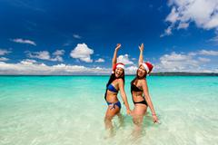 christmas tropical card - stock photo