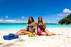 Picnic on summer beach Stock Photos