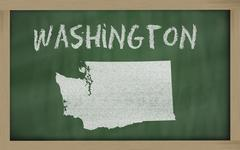 outline map of washington on blackboard - stock illustration