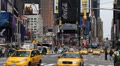 Crowded New York City, Yellow Cab Taxi, Times Square, Manhattan, Car Traffic Footage