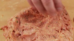 Burgers being shaped from minced meat dough Stock Footage
