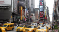 Yellow Cab Taxi, Times Square, Crowded New York City, Manhattan, Car NYC Footage