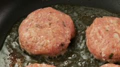 Meatballs being fried in a pan Stock Footage