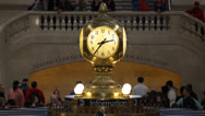 Stock Video Footage of Grand Central Terminal Station Central Clock, Busy Commuters and Tourists