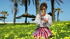 Young woman in Tunisia Stock Footage