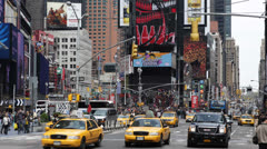 Rush Hour Times Square Manhattan Car Traffic Crowd New York City Yellow Cab Taxi Stock Footage