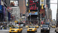 Stock Video Footage of Rush Hour Times Square Manhattan Car Traffic Crowd New York City Yellow Cab Taxi