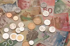 Kanadan valuutta setelit ja kolikot Kuvituskuvat