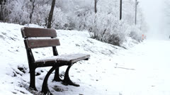 Bench covered with ice Stock Footage