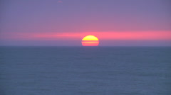 Sunrise on ocean horizon, 400% - stock footage