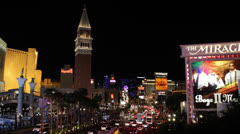 Venetian Hotel, Nightlife, Las Vegas Strip Boulevard, Crowded Road Traffic Jam Stock Footage