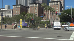 Traffic street in Hollywood downtown, Boulevard Blvd LA Los Angeles - stock footage