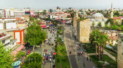A crowd of people walking in the old city of Antalya, Turkey timelapse with zoom Stock Footage