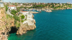 Timelapse of activity in old harbor in Antalya, Turkey Stock Footage