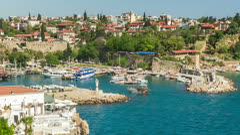 Timelapse of activity in old harbor in Antalya, Turkey - stock footage