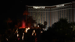 Fire Water Show, Las Vegas Boulevard,The iconic Volcano at Mirage Hotel night Stock Footage