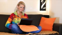 Beautiful women sitting and spending time on laptop - stock footage