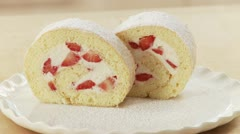 Strawberry cream swiss roll Stock Footage