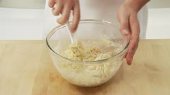 Ingredients for yeast dough being mixed and kneaded Stock Footage