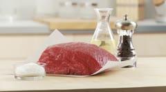 Veal shoulder, salt, pepper and oil Stock Footage