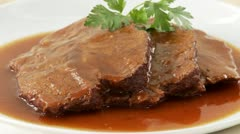 Beef pot roast with gravy Stock Footage
