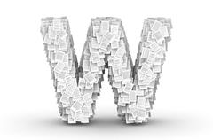 Letter W, page documents font - stock illustration
