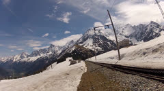 Tramways from the Mont Blanc top Stock Footage