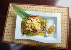 soba noodle and tempura seafood and vegetables - stock photo
