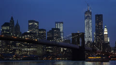 Downtown Manhattan Skyline, Brooklyn Bridge, New York City, Corporate Buildings Stock Footage