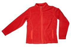 red fleece jacket - stock photo