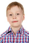 Portrait of a boy in a plaid shirt Stock Photos