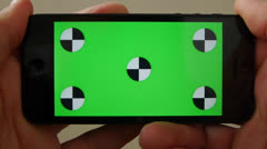Cell Phone, touch screen, held by hands. Green screen Chroma Key. Close up. Stock Footage