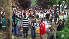 Crowd of people gathering on Gezi Park Stock Footage