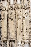 Statues from west facade of chartres cathedral, france Stock Photos