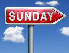 sunday road sign arrow - stock illustration