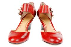 fashionable women's red shoes - stock photo