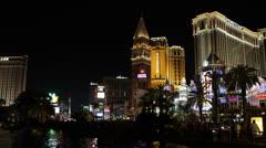 Venetian Hotel, Road Traffic Jam, Nightlife, Crowded Las Vegas Strip Boulevard Stock Footage