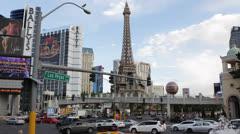Las Vegas Strip Eiffel Tower Crowded Car Traffic Busy Road USA Holiday Daylight Stock Footage