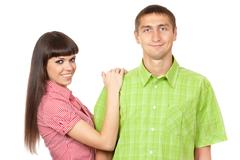 funny couple in colored clothing - stock photo