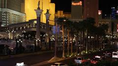 Nighttime Nightlife Nightfall Las Vegas Strip Venetian Hotel Entertainment Fun Stock Footage