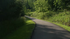 Narrow paved path in the woods Stock Footage