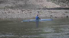 Stock Video Footage of Canoeist on the Thames River