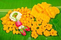 thai dessert ,thai sweets on the leaf - stock photo