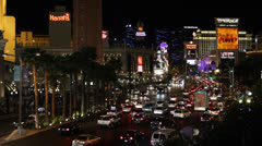 Illuminated Night Las Vegas Strip Boulevard Venetian Hotel Rush Hour Car Traffic Stock Footage