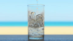 Glass of fresh drink Stock Footage