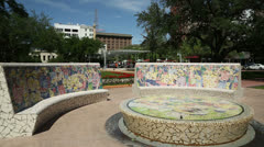 Cotswold fountain three, market square, houston Stock Footage