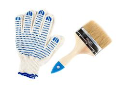 two hands using a paint brushes - stock photo
