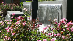 Fountains at lauren's garden, market square, houston Stock Footage