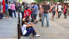 Crowd of people meet at Gezi Park next to Taksim square Stock Footage